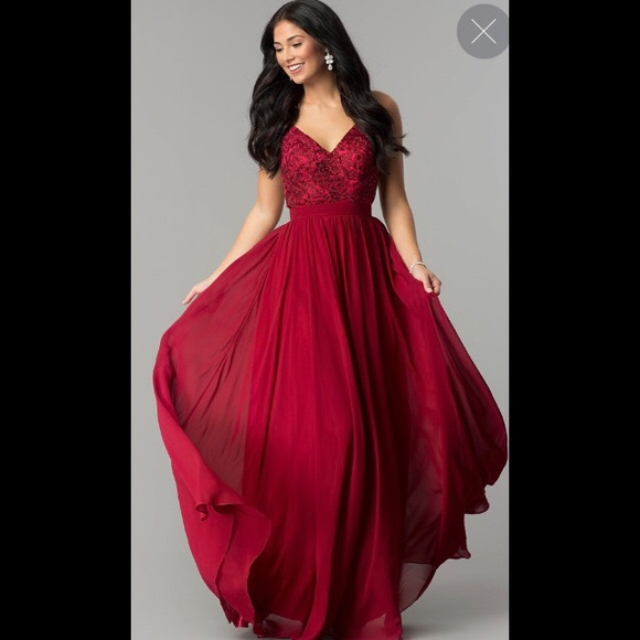 Burgundy Red Prom Dress Embroidered